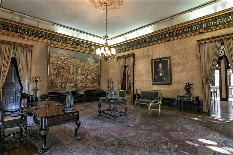 O gabinete do Barão do Rio Branco, no Palácio do Itamaraty (imagem Museu Histórico e Diplomático)