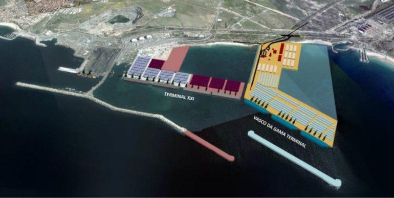 Projeto da expansão dos terminais de contentores do Porto de Sines (imagem Diogo Carvalheda, Ministério do Mar)