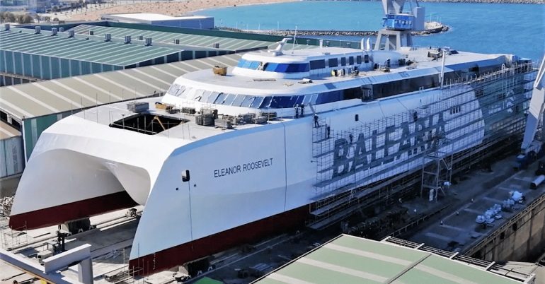 O moderníssimo catamaran ELEANOR ROOSEVELT em acabamentos finais no Estaleiro Armón de Gigón (imagem Balearia)