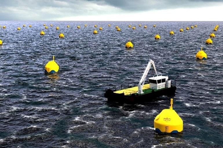 Visão artiística dum campo de conversores CorPower Energia das ondas (descarbonização)