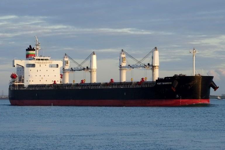 O navio graneleiro MV PORT SHANGHAI, da Portline Bulk International. (imagem cedida por Carla Muralha)