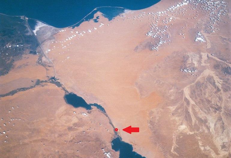 Posição do encalhe do MV EVER GIVEN no canal do Suez
