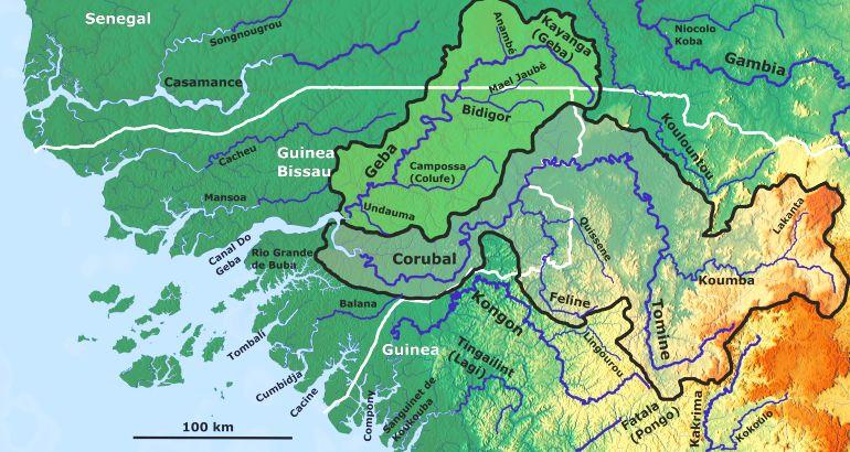 Os Rios da Guiné (imagem OSM Open Street Map)