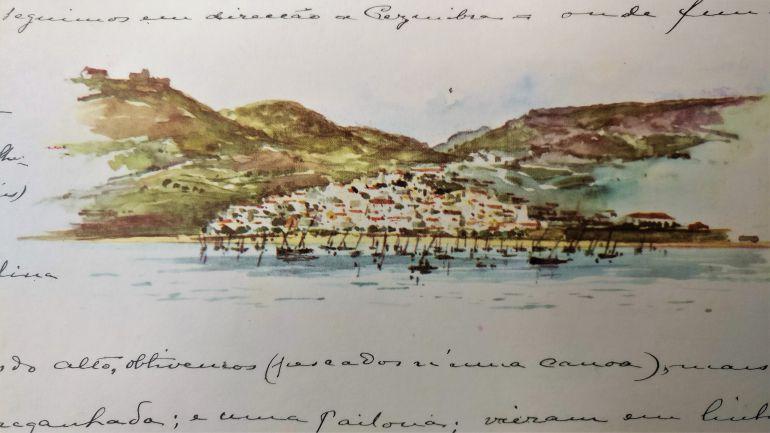 Sesimbra vista pela aguarela do rei D. Carlos I, de bordo do Yacht AMÉLIA, em 5 de maio de 1897.