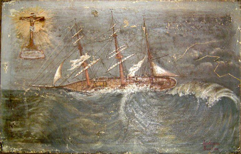 Ex-voto Barca América (1904), exposto na Igreja Senhor Jesus dos Navegantes em Ílhavo (patrimonioreligiosodeilhavo.blogspot.com)