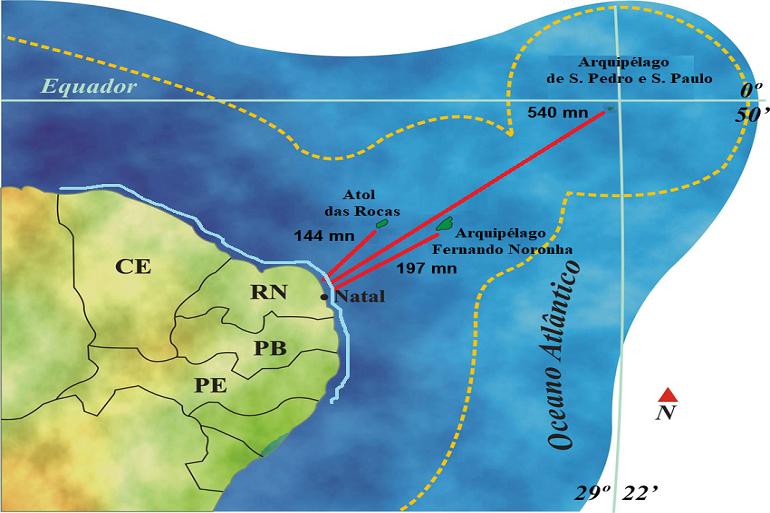 Mapa da área de patrulha do NPa GRAÚNA, assinalando a extensão da costa dos estados do Ceará, Rio Grande do Norte, Paraíba e Pernanbuco, bem como os territórios insulares atlânticos.