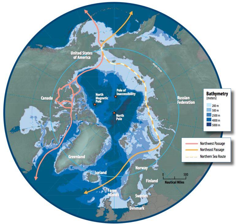 Mapa da região do Ártico, mostrando a Passagem do Noroeste, a Rota do Mar do Norte e a Passagem do Nordeste, sobre a batimetria. (imagem Conselho do Ártico via wikimedia commons)