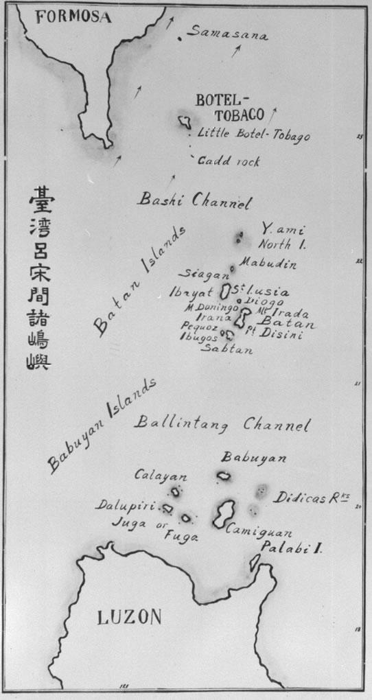 O estreito de Bashi, fica entre a ponta Sul da ilha Formosa (Taiwan) e as ilhas Batan ou Batanes (Filipinas)
