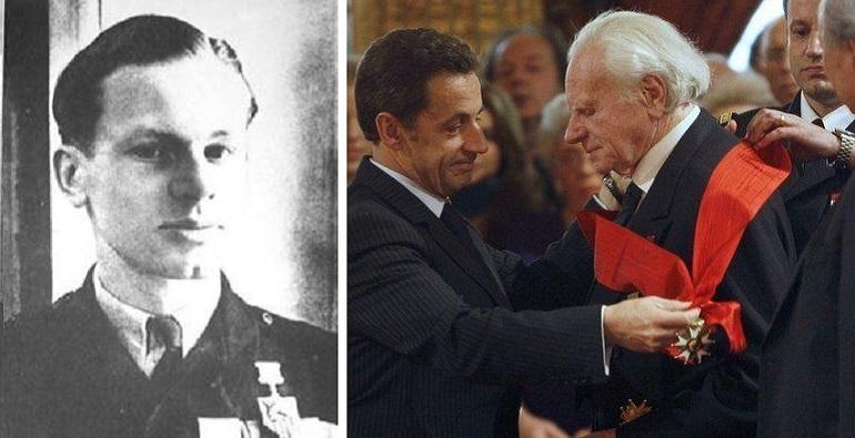 Roland de La Poype em 1945, herói da 2 GG e em 2002 a receber a Grã-Cruz da Legião de Honra (imagens Ministère des Armées)