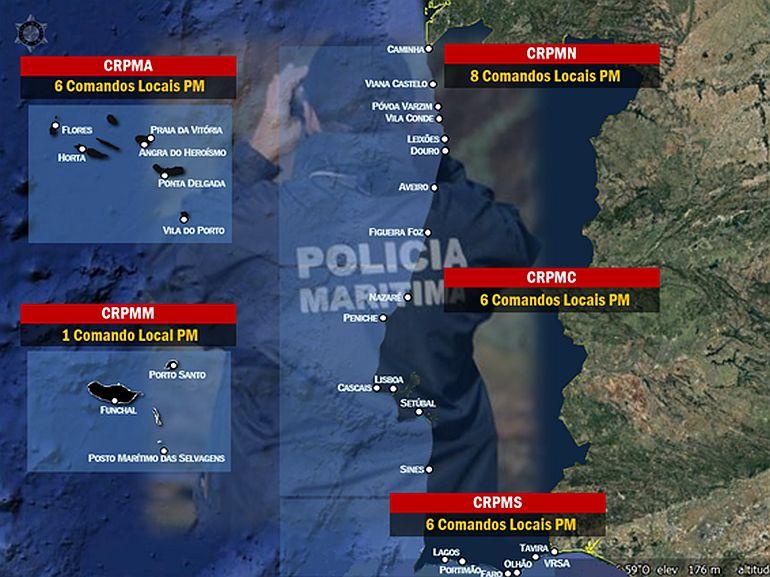 A distribuição territorial da Polícia Marítima