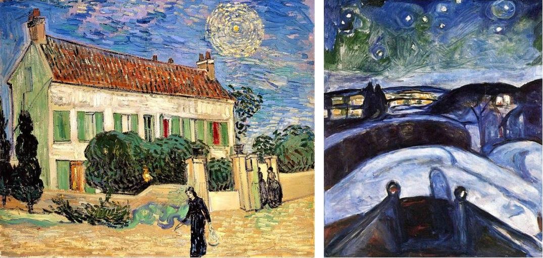 Casa Branca à Noite, Auvers-sur-Oise, óleo sobre tela Vincent Van Gogh, Junho de 1890 Museu Hermitage - São Petersburgo e Noite Estrelada (1922-1924) Edward Munch, a cidade de Oslo vista da casa do pintor.