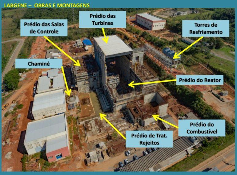 Construção do Laboratório de Geração de Energia Nucleoelétrica (LABGENE), em 2017, nas instalações da Marinha em Aramar, em Iperó, São Paulo (D.R.)