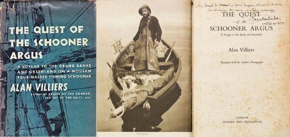 """Exemplar do livro """"The quest for the schoooner ARGUS"""", com dedicatória de Gago Coutinho, Natal de 1957 (Levy Leiloeiros RJ, Brasil)"""
