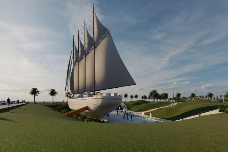 Imagem previsão da instalação do ARGUS no Jardim Odinot, na Gafanha da Nazaré (imagem CM Ílhavo)