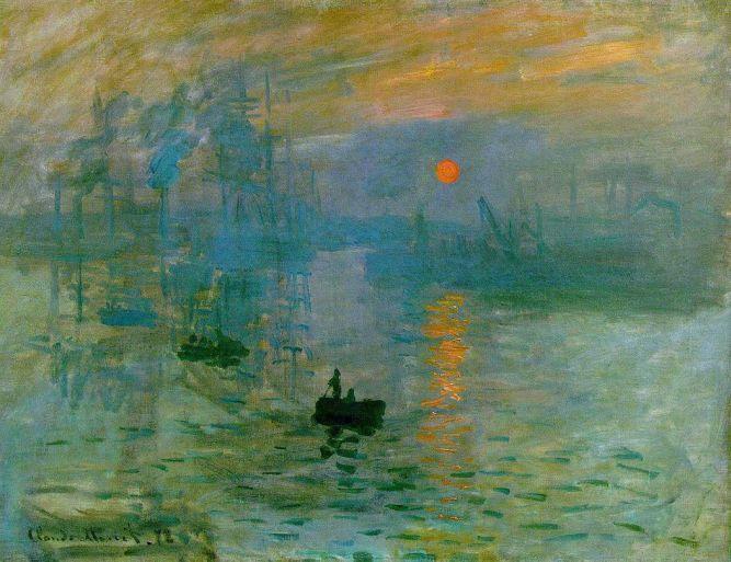 Impressão, nascer do Sol, óleo sobre tela, 1872, Claude Monet (Museu Marmottan)