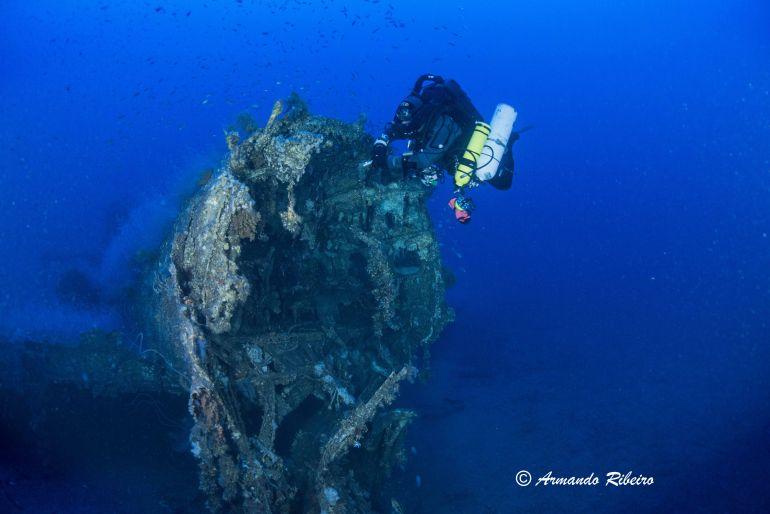 Mergulhando junto à zona de fratura da fuselagem (imagem Armando Ribeiro)