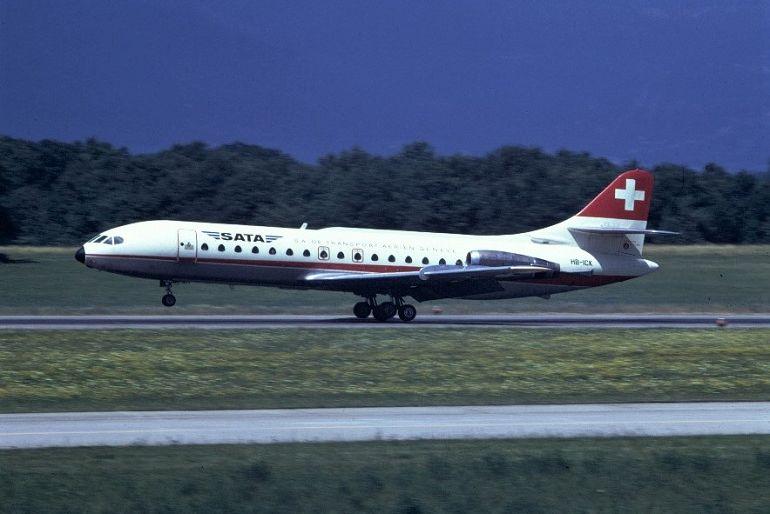 O Caravelle da SATA, matrícula HB-ICK, da S.A. T.A. que se acidentou no domingo, 18 de dezembro de 1977 (D.R.)