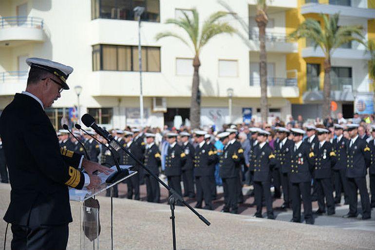 O VAlm Sousa Pereira, na qualidade de CGPM durante as comemorações do centenãrio da PM, que teve lugar em Quarteira, em novembro de 2019 (imagem AMN)