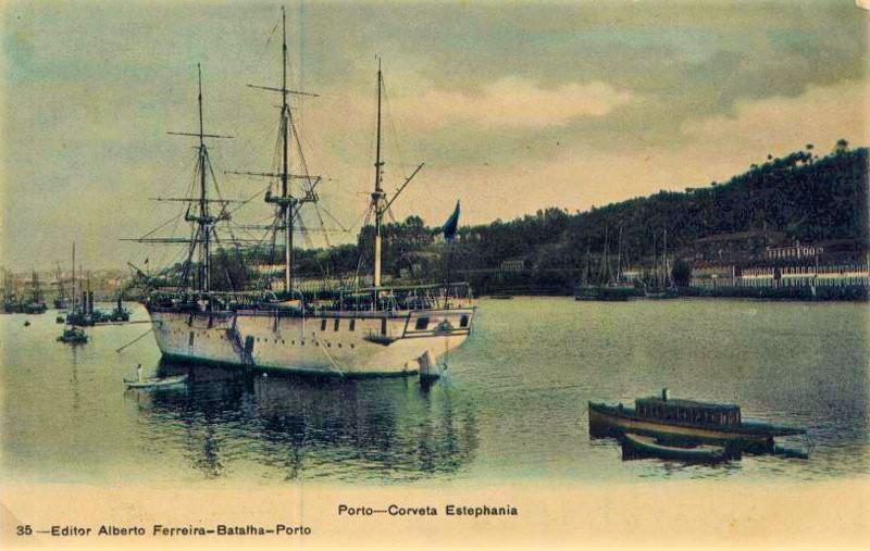 Bilhete Postal - Porto - Corveta Estephania - Editor Alberto Ferreira - Batalha - Porto (coleção do autor)