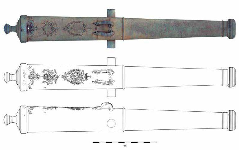 Desenho detalhado do canhão presente no Museu Militar (imagem José Bettencourt)