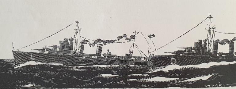 Os contratorpedeiros LIMA e DOURO, retratados pela pena de Stuart de Carvalhais (1938 - imagem Revista de Marinha, D.R.)
