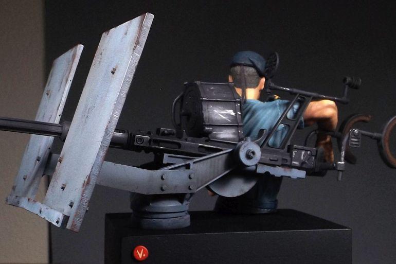 Perspectiva do modelo acabado, mostrando a Oerlikon (imagem Vitalino Chitas)