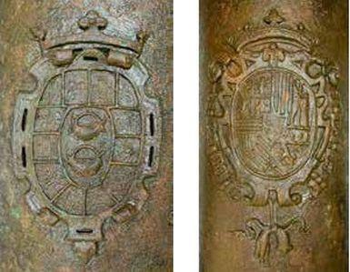 Pormenor dos brasões do canhão de Carcavelos. À esquerda Antonio de Zúñiga Gusmán y Sotomayor, e à direita, Reino de Espanha durante a dinastia dos Habsburgos (imagem Augusto Salgado)