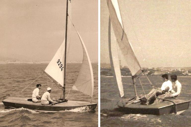 Em regata navegando no Snipe 9294, barco vencedor do Campeonato do Mundo (D.R.)