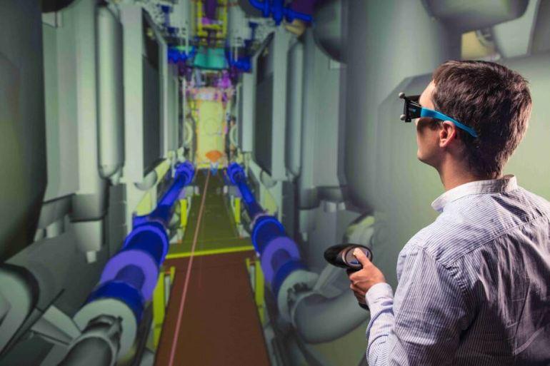 O interior do submarino foi digitalizado em modelo 3D, o que permitiu aos engenheiros estudarem múltiplas possibilidades (imagem Naval Group, Adrien Daste)