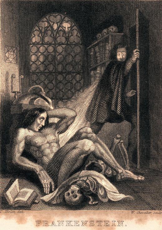 """Ilustração presente na 3ª edição da obra """"The Modern Prometheus"""", de Mary Shelley, publicada pelos editores Colburn and Bentley, London, em 1831 (imagem Tate.org)"""