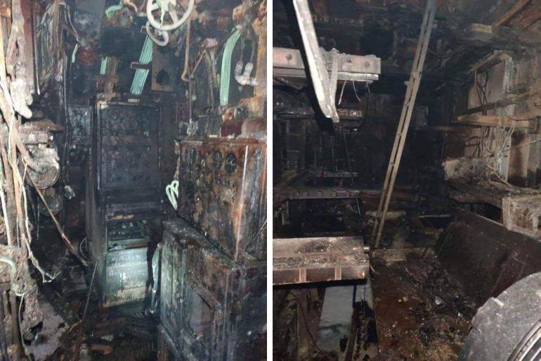 Imagens da destruição no interior do navio (D.R.)