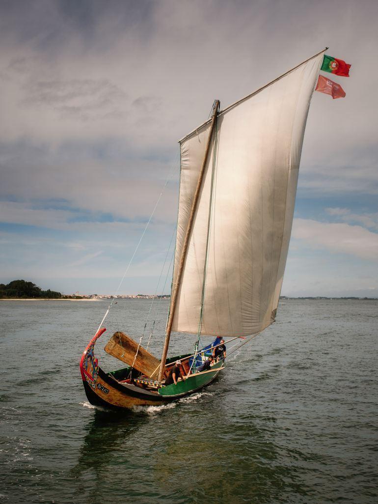 Moliceiro a navegar com o vento pela popa a encher o pano e com as tostes dentro. (imagem José Mariano)
