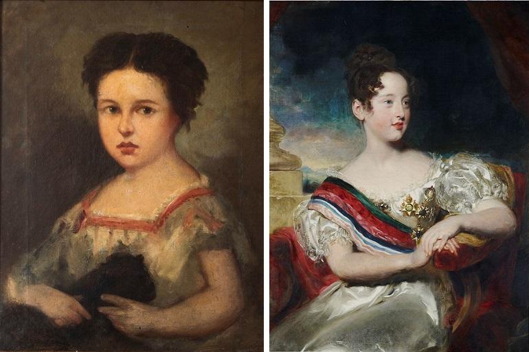 D. Maria, a carioca, c. 1825, com 5 anos, retratada por Jean-Baptiste Debret (colecção particular de Vasco da Câmara Pereira) e em 1829, com 10 anos, pintada por Thomas Lawrence (Royal Collection)