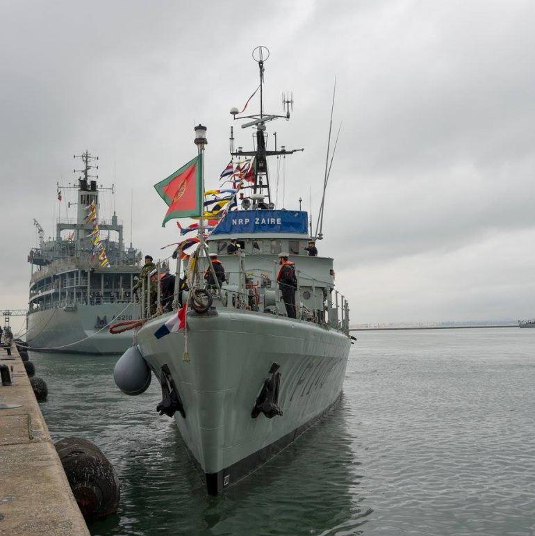 O NRP ZAIRE largou da Base Naval de Lisboa no dia 3 de janeiro de 2018, e seguiu para São Tomé em companhia do NRP BÉRRIO (imagem MGP)