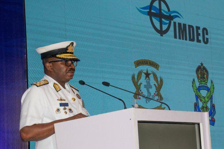 O VALM Seth Amoana, CHOD do Gana durante o encerramento da IMDEC 2021 (imagem Ghanna Navy)