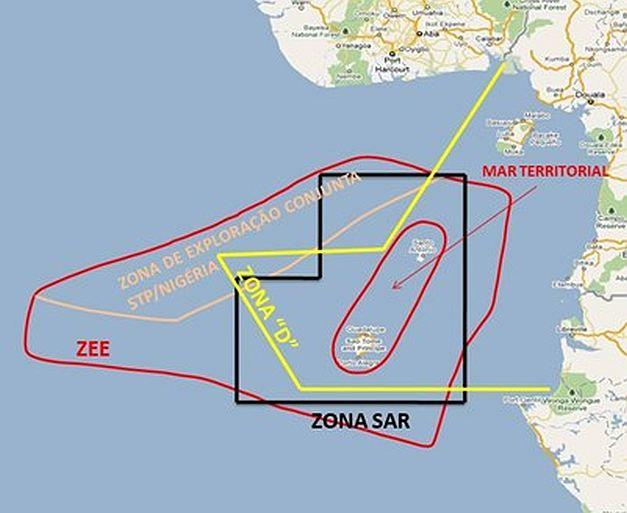 Nesta carta podemos ver os diversas espaços de responsabilidade de São Tomé e Príncipe, desde logo o Mar Territorial, a Zona de Busca e Salvamento (SAR), a Zona Económica Exclusiva (ZEE) e a Zona de exploração conjunta de hidrocarbonetos com a Nigéria.