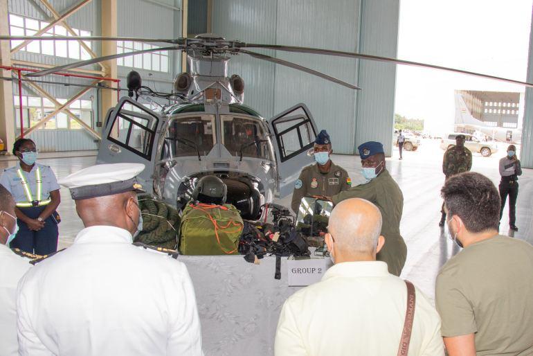O evento incluiu uma visita à Base Aérea de Takoradi, onde, entre outros equipamentos foi apresentado um helicóptero Harbin Z-9 da Força aérea do Gana (imagem IMDEC 2021)