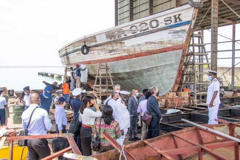 Durante a visita à Base Naval de Sekondi foi apresentadas as capacidades disponíveis no estaleiro (imagem IMDEC 2021)