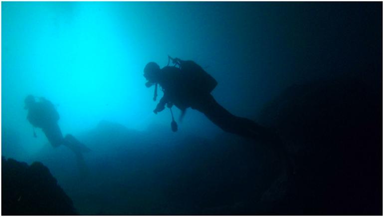 Mergulho nas águas frias das grutas da Atalaia em Sagres 2018 (foto JOC)