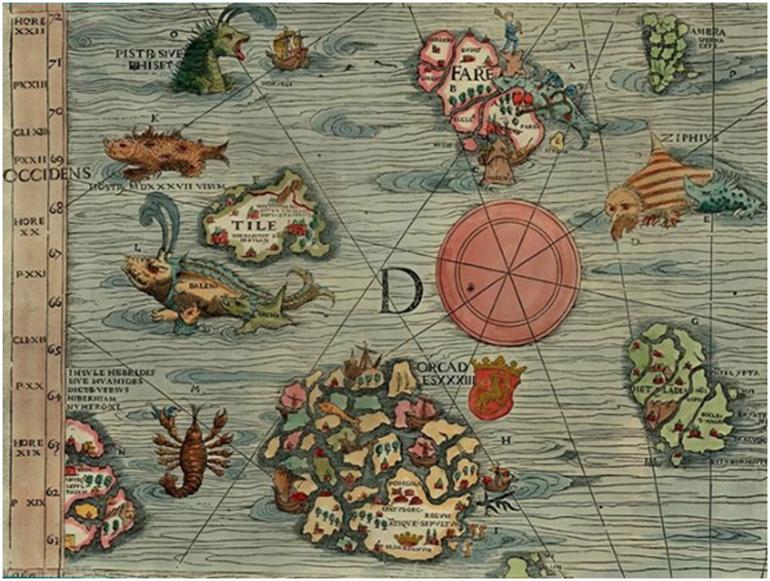 Monstros marinhos do passado desenhados por Olaus Magnus (1490-1557) cartógrafo, escritor e eclesiástico sueco, pioneiro no desenvolvimento de trabalhos sobre a Suécia e os países nórdicos. Foi o último arcebispo católico da Suécia, exilado em Roma, de 1524 até à sua morte em 1557.